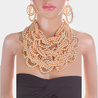 Braided Pearl Statement Necklace