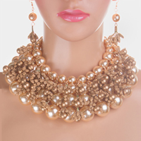 Multi Strand Pearl Collar Necklace