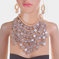 Multi Strand Pearl Cube Bead Cluster Bib Statement Necklace