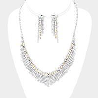Bubble Crystal Detail Rhinestone Pave Fringe Necklace