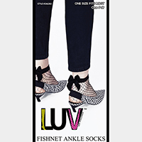 Back Bow Accented Fishnet Ankle Socks