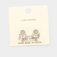 White Gold Dipped Cubic Zirconia Dreamcatcher Earrings
