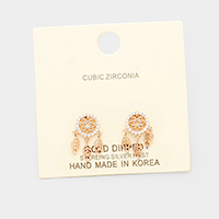 Gold Dipped Cubic Zirconia Dreamcatcher Earrings