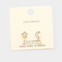 Gold Dipped Cubic Zirconia Star Moon Dangle Earrings
