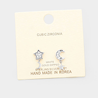 White Gold Dipped Cubic Zirconia Star Moon Dangle Earrings