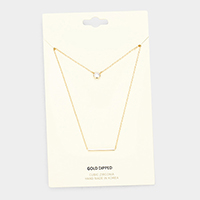 Gold Dipped Layered Metal Bar Cubic Zirconia Pendant Necklace