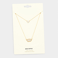 Gold Dipped Layered Metal Cubic Zirconia Pendant Necklace