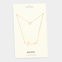 Gold Dipped Layered Cross Cubic Zirconia Pendant Necklace