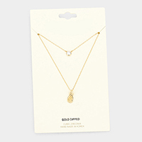 Gold Dipped Layered Pine apple Cubic Zirconia Pendant Necklace