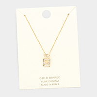 Gold Dipped Layered Perfume Cubic Zirconia Pendant Necklace