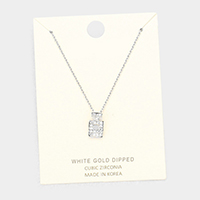 White Gold Dipped Layered Perfume Cubic Zirconia Pendant Necklace