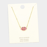 Gold Dipped Layered Lip Cubic Zirconia Pendant Necklace