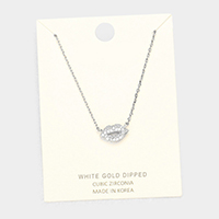 White Gold Dipped Layered Lip Cubic Zirconia Pendant Necklace