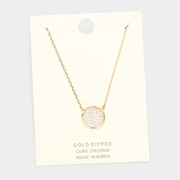 Gold Dipped Layered Circle Cubic Zirconia Pendant Necklace