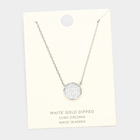 White Gold Dipped Layered Circle Cubic Zirconia Pendant Necklace