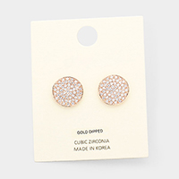 Cubic Zirconia Pave Round Stud Earrings