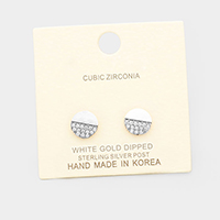 White Gold Dipped Cubic Zirconia Round Disc Earrings