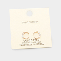 Gold Dipped Cubic Zirconia Moon Earrings