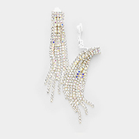 Crystal Rhinestone Pave Fringe Clip on Evening  Earrings