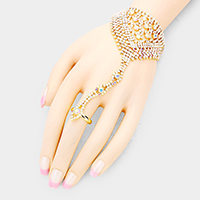 Round Crystal Detail Net Hand Chain Evening Bracelet