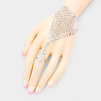 Rhombus Crystal Detail Net Hand Chain Evening Bracelet