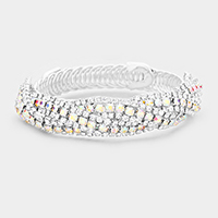 Rhinestone Pave Twisted Adjustable Evening  Bracelet