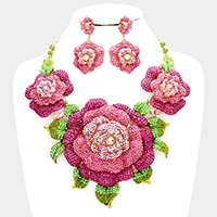 Crystal Pave Rose Flower Accented Evening Necklace