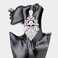 Oversized Crystal Rhinestone Bling Statement Clip On Earrings