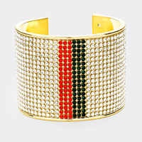 Three Tones Crystal Pave Color Block Cuff Bracelet