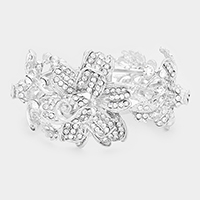 Crystal Pave Triple Flower Hinged Evening Bracelet