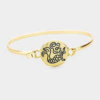 Mermaid Embossed Round Disc Hook Bracelet