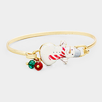 Watercolor Enamel Snowman Christmas Gem Charms Hook Bracelet
