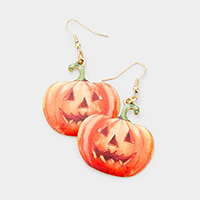 Watercolor Enamel Pumpkin Dangle Earrings