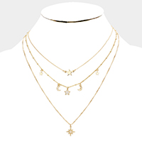Layered Cubic Zirconia Star Moon Station Bib Necklace