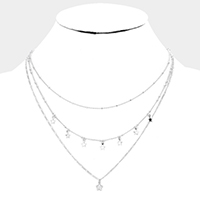 Double Layered Cubic Zirconia Star Station Bib Necklace