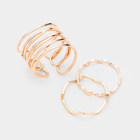 3PCS Gold Plated Cage Metal Cuff Ring Set