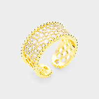 Gold Plated Cubic Zirconia Adjustable Cuff Ring