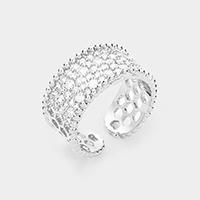 White Gold Plated Cubic Zirconia Adjustable Cuff Ring