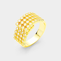 4Row Gold Plated Cubic Zirconia Adjustable Ring