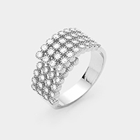 4Row White Gold Plated Cubic Zirconia Adjustable Ring