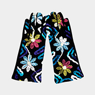 Flower Embroidery Multi Color Smart Touch Gloves
