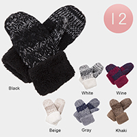 12Pairs - Faux Fur Cuff Detail Knit Thermal Mitten Gloves