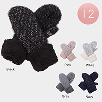 12Pairs - Fuzzy Faux Fur Cuff Detail Knit Thermal Mitten Gloves