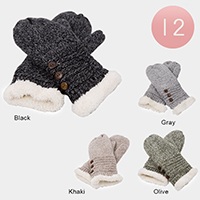 12Pairs - Faux Fur Button Detail Knit Thermal Mitten Gloves