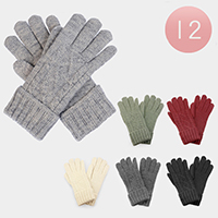 12 Pairs Soft Knit Fur Lining Gloves