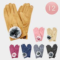 12 PCS - Solid Pom Pom Detail Winter Gloves