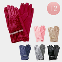 12 PCS - Ribbon Detail Lined Winter Gloves