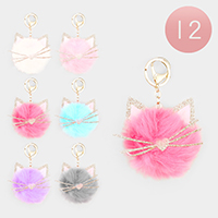 12PCS - Assorted Cat Faux Pom Pom Key Chains