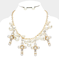 Pearl Accented Crystal Embellished Cross Bib Necklace