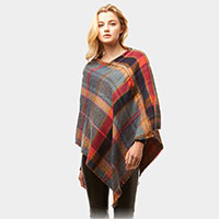 Multi Plaid Poncho